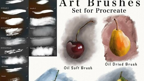 Art Brushes for Procreate (Oil, Watercolor, Acrylic, Pastel, Spray)
