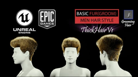 Thick Hair V1 Hairstyle (Groom) For UE4