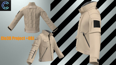 Jacket military (ОBJ + Project Clo3D)