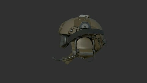 Ops-Core Fast XP TAN with Comtac and Goggles Low Poly 3D model