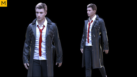 Mens clothing with coat. Avatar genesis 8 Male. Marvelous Designer, Clo3d project + OBJ/FBX files.(23)