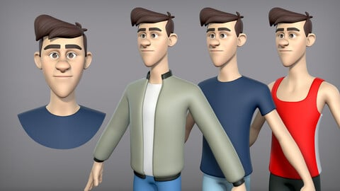 Cartoon man with 3 outfits