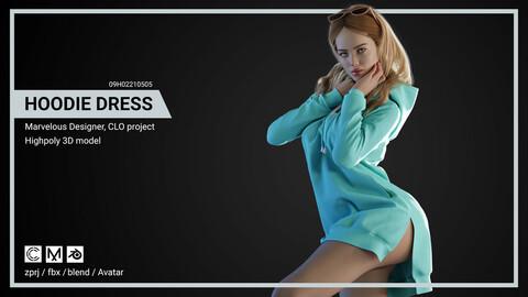 Hoodie Dress - Marvelous Designer, CLO project.