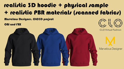 Realistic 3D Men's Hoodie + PBR materials + Physical Hoodie made of 100% Tencel micromodal (free gift ucc)