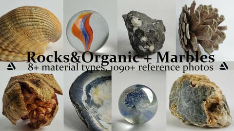 Rocks&Organic + Marbles. 8+ Material Types, 1090+ Reference Photo Pictures