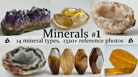 Minerals vol.1. 14 Mineral Types, 1320+ Reference Photo Pictures