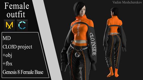 Female Modern Outfit №5. Clo 3D / Marvelous Designer project +obj