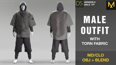 Male outfit with torn fabric. MD/CLO PROJECT FILE + OBJ + BLEND
