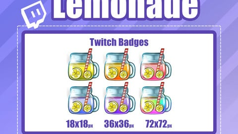 6x LEMONADE TWITCH Sub Badges