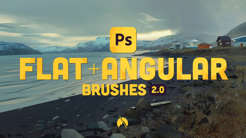FLAT+ANGULAR Brushes - 42 Custom Brushes for Photoshop CC + Demo Videos