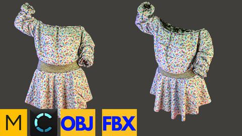 Marvelous Designer + Clo3d + OBJ + FBX : shirring shirt & circle skirt