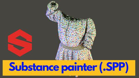 Substance Painter (.SPP) : shirring shirt & circle skirt