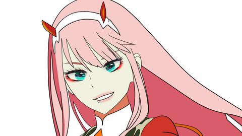 Zero two in Webtoon x Anime style