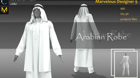 Silk Arabian Robe_Ancient Middle East Dress_Prince Attire MD file_Clo3d, Marvelous Designer Project + FBX + OBJ(if needed)