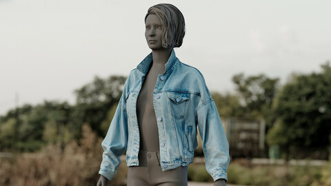 Realistic 3D model of Women's Jean Jacket 1