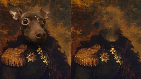 Historical classic royal pet, dog, animal portrait painting templates Alexander F. Shcherbatov 18x24 Inc
