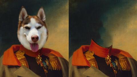Historical classic royal pet, dog, animal portrait painting templates Balk 18x24 Inc