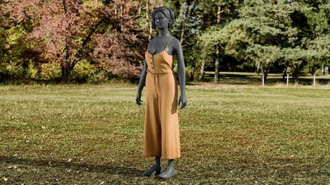 Realistic 3D model of Women's Overalls 2