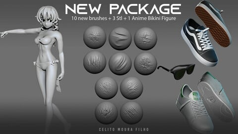 10 New Sculpted Brushes  + 3STL + 1 Anime Figure