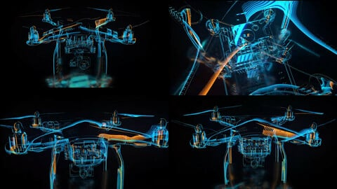Drone Holographic Animation