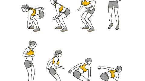 180 Jump Squat Female exercise fitness GIF line animation illustration