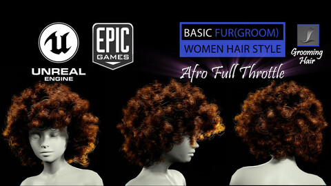 Afro Full Throttle Grooming Real-Time Hairstyle Unreal Engine 4