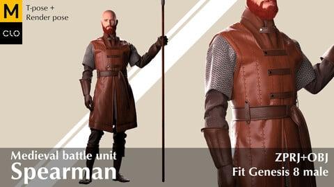 Medieval spearman`s leather  armor