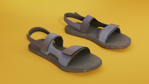 Old blue Sandals lowpoly with PBR Low-poly 3D model