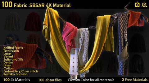 100 Fabric Materials-sbsar-4k-custom colors+2 free Materials
