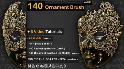 140 Ornament Brush +3DModel + IMM Brush  - VOL 01