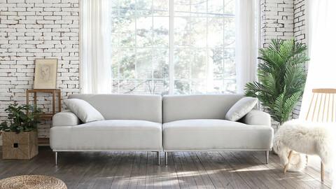 Evelyn Functional Living Waterproof Fabric Aqua Suede 3.5 Seater Sofa