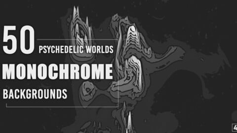 50 Monochrome Psychedelic Worlds