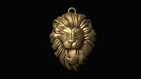 Furious Lion Head Pendant 3D print model