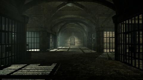 Medieval prison 3D model Low-poly 3D model