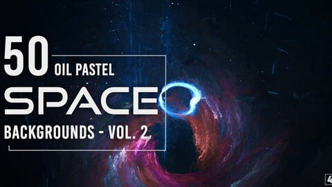50 Oil Pastel Space Backgrounds - Vol. 2