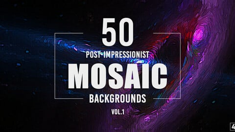 50 Post-Impressionist Mosaic Backgrounds - Vol. 1