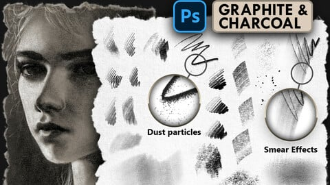 GRAPHITE & CHARCOAL SET - Hyper realistic brushes for Photoshop