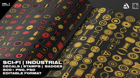 SCI_FI & INDUSTRIAL DECALS | STAMPS |  BADGES [500+] Collection