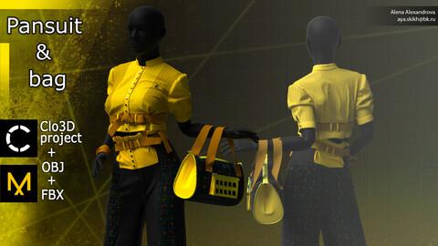 Pantsuit and bag. Clo3D project, Marvelous Designer.
