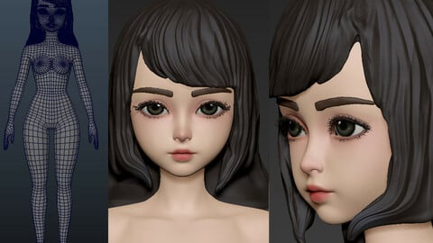 Loli basemesh young girl child Anatomy zbrush project 3D model