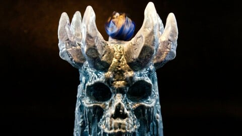 DnD Dice Tower Ice Skull STL