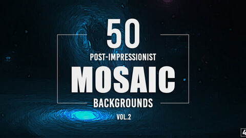 50 Post-Impressionist Mosaic Backgrounds - Vol. 2