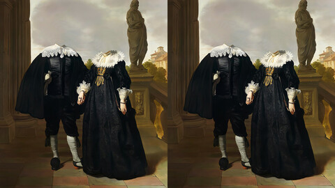 Realistic couple royal portrait digital oil painting template (The Gothic Couple)