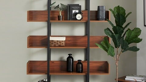 Steel bookshelf square frame W1200 5-layer 8colors