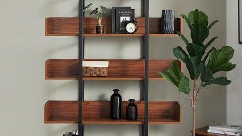 Steel bookshelf square frame W1200 5-layer 8colors