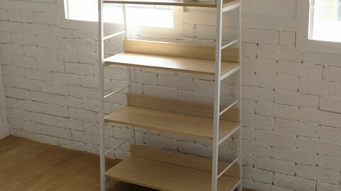 Cookie & Cream Ladder Bookshelf 4-tier 2colors