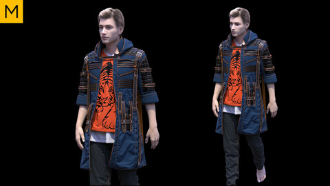 Mens clothing. Avatar genesis 8 Male. Marvelous Designer, Clo3d project + OBJ/FBX files.(24)