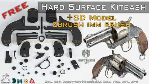 "+30 Hard Surface Kitbash+IMM Brush and 3D Model -ZTL-ZBP-MAX-FBX-OBJ-MTL "" FREE """
