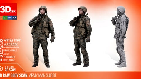 Cleaned 3D Body scan of Army Man Suicide