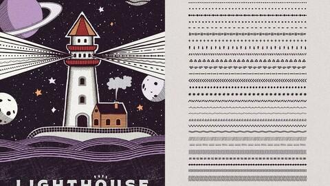 32 Pattern Brushes for Adobe Illustrator